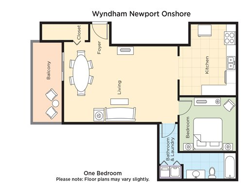 A floor plan of one bedroom unit.