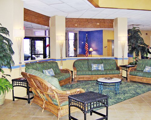 Lounge area with American flag at Islander Beach Resort.