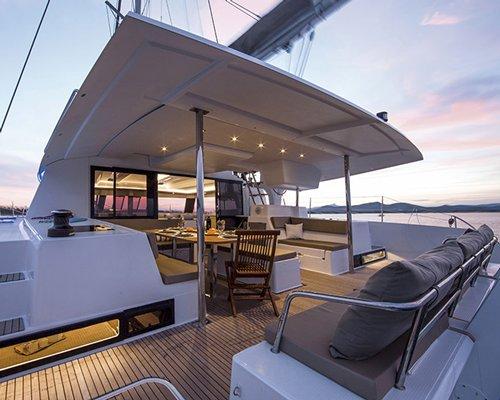 Sail boat deck.