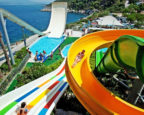 A view of water slides in the water park.