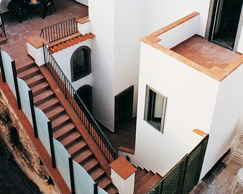 An aerial view of the staircase in the resort.