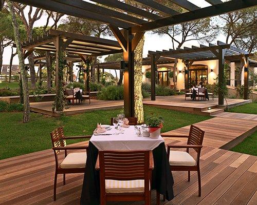 Outdoor restaurant at Pine Cliffs Resort.