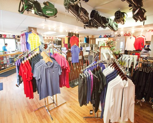 A well stocked apparel and accessory store.