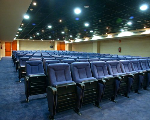 A well furnished indoor movie theater.