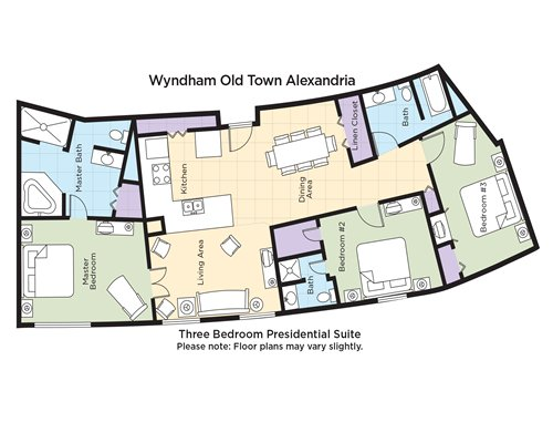 A floor plan of three bedroom Presidential Suite.