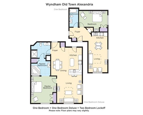 A floor plan of one bedroom and one bedroom Deluxe equals Two Bedroom Lockoff.