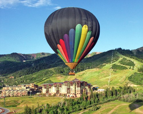 A view of the hot air balloon flying above the resort property.
