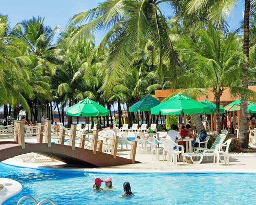 An outdoor swimming pool with chaise lounge chairs patio and sunshades surrounded by coconut trees.