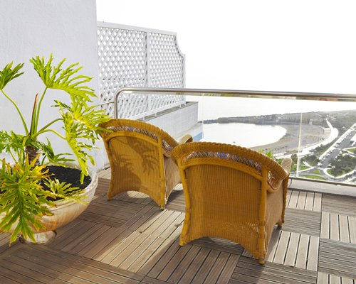 A balcony with patio.