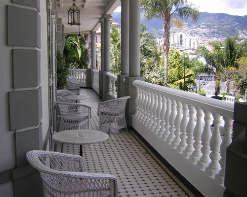 View of the balcony and patio furniture.
