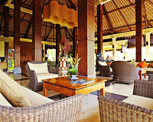 Lounge area at Bali Masari Villas & Spa with outside view.