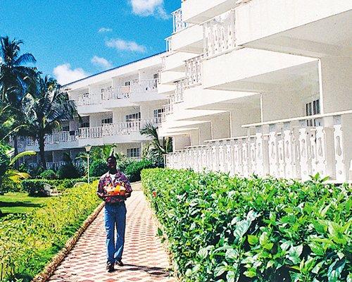 Scenic view of multi story resort units.