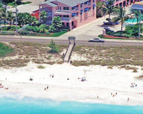 An aerial view of The Penthouses at Gulf Stream with pathway leading to the beach.