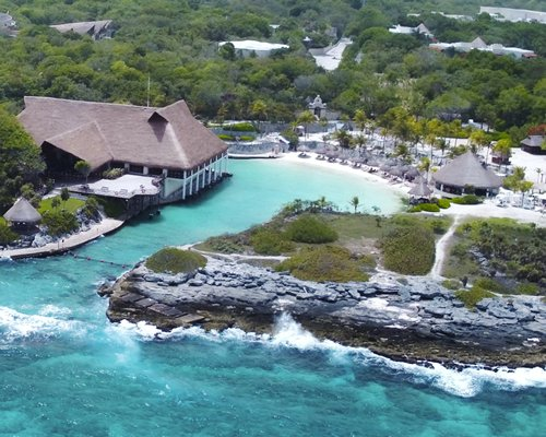 An aerial view of the resort and ocean.