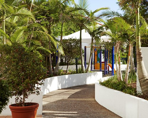 Scenic pathway leading to resort unit.