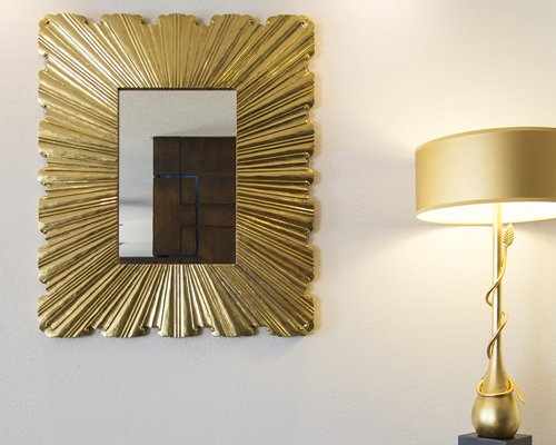 A mirror and night lamp.
