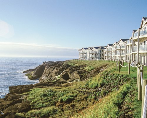 A scenic view of WorldMark Depoe Bay resort alongside the waterfront.