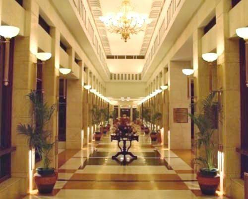 Interior pathway at Jaypee Palace Hotel.