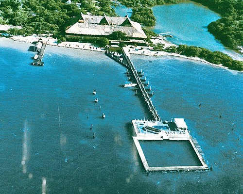 An aerial view of the resort property alongside the waterfront.
