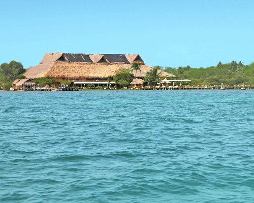 An exterior view of Hotel Superdecameron Isla Palma from the sea.