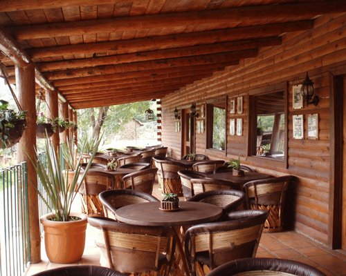 A view of the fine dining restaurant with outside view.