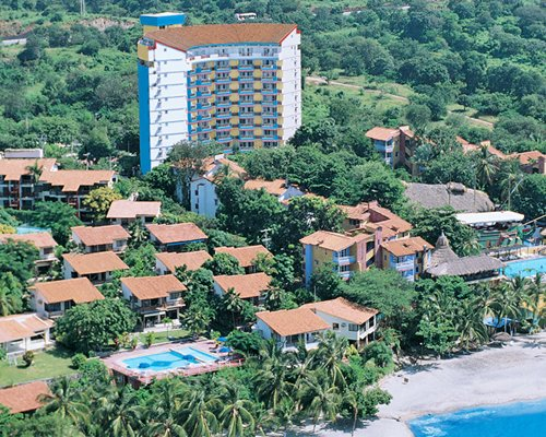 Distant view of the beach and the Hotel Decameron Galeon properties.