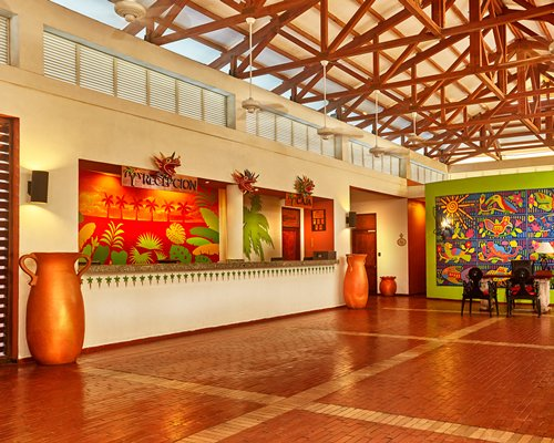 Reception and lounge area at Royal Decameron Farallon.