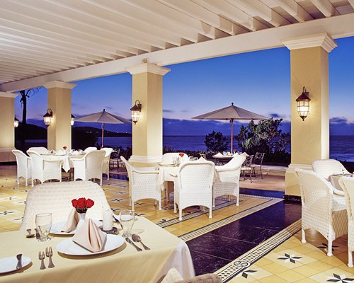 A fine dining restaurant with the ocean view.