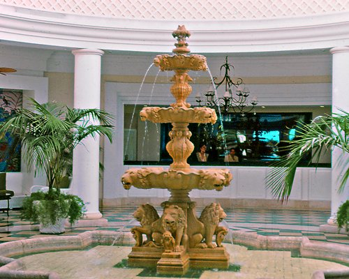 A fountain alongside the resort.