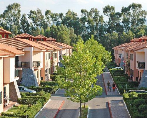 Street view of multiple resort units.