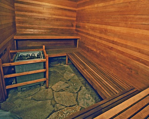 A large wooden sauna.