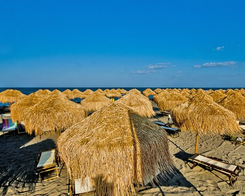 View of chaise lounge chairs and thatched sunshades on the beach.