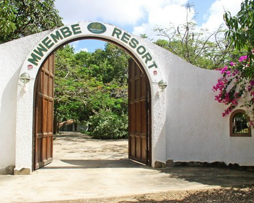 A view of the Mwembe Resort entrance.