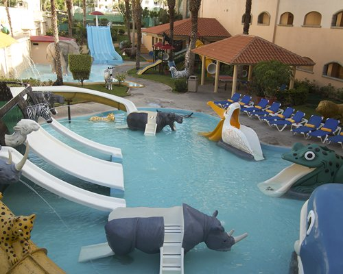 Kids water play area with wild animal slides