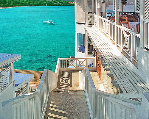 The waterfront from an exterior staircase of a resort unit.