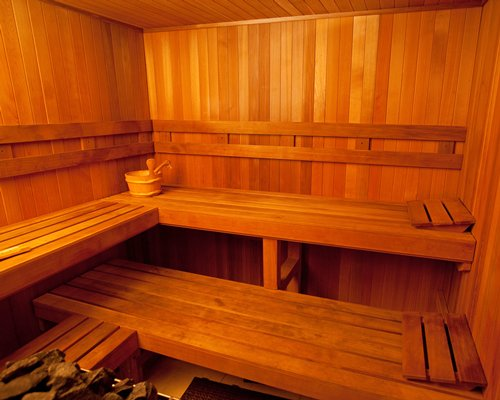 A wooden themed sauna.