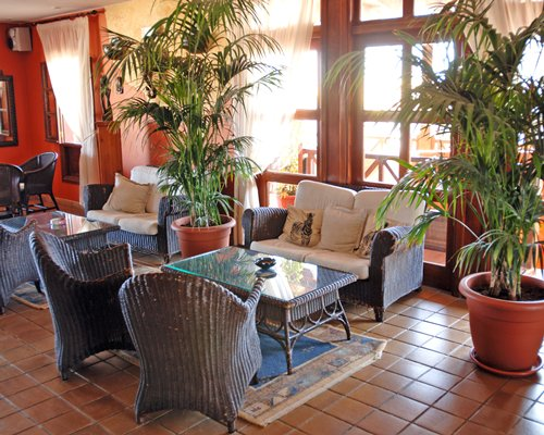 A well furnished indoor lounge area with potted plants and an outside view.