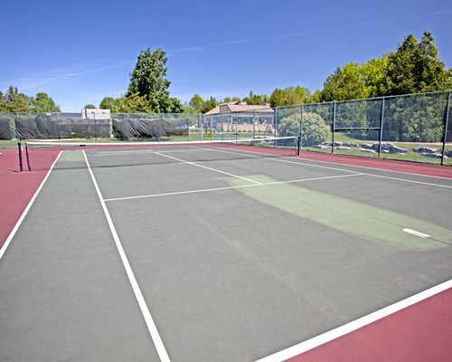 An outdoor view of the tennis court.