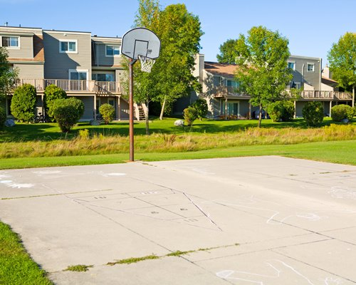 Outdoor basketball court.