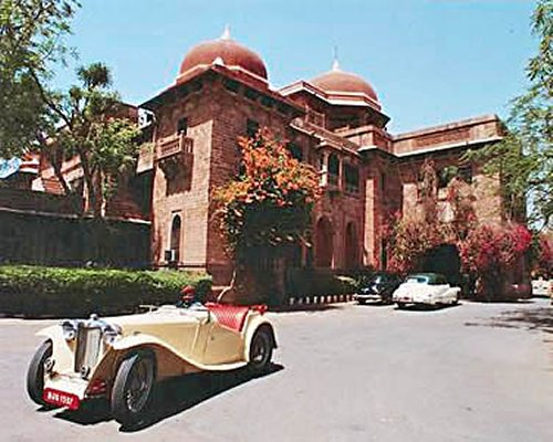 Scenic exterior view of Ajit Bhawan.