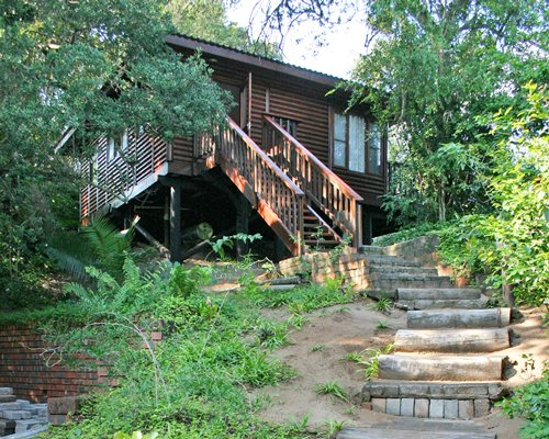 Exterior view of Mtunzini Forest Lodge with a stairway surrounded by wooded area.