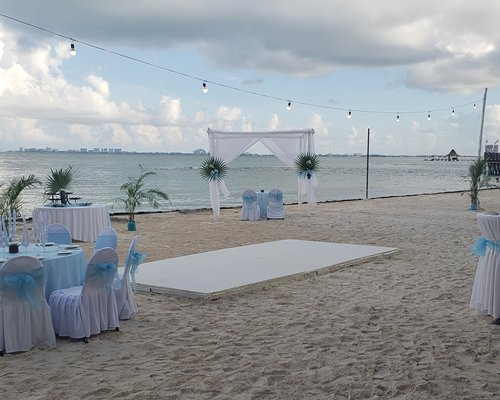 A scenic outdoor restaurant at All Ritmo Cancun Resort & Waterpark.