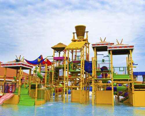 An outdoor water theme park at the All Ritmo Cancun Resort & Waterpark resort.