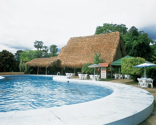 An outdoor swimming pool alongside resort units with thatched roofs.