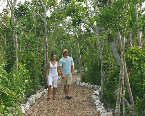 A couple walking on the pathway surrounded by wooded area.