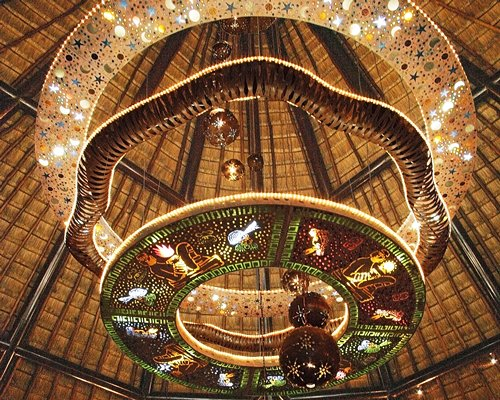 A view of the festively decorated ceiling at Bel Air Collection Riviera Maya resort.