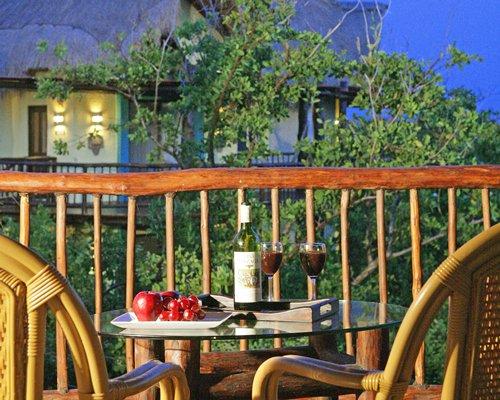 A balcony with a patio.