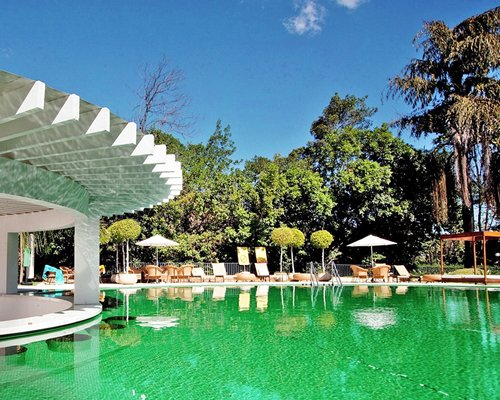 An outdoor swimming pool with chaise lounge chairs and sunshades surrounded by trees.