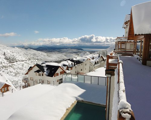 A view of the Hosteria del Cerro resort covered by snow.