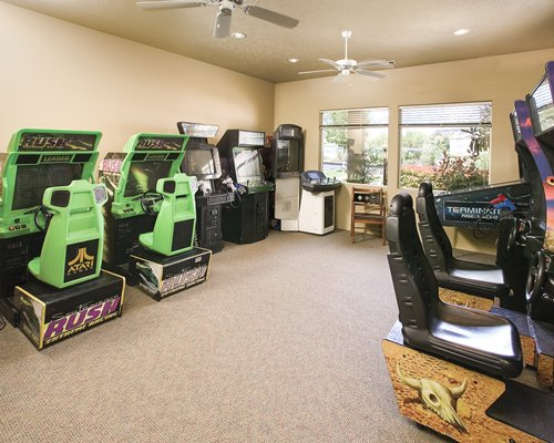 Indoor recreation area with arcade games.